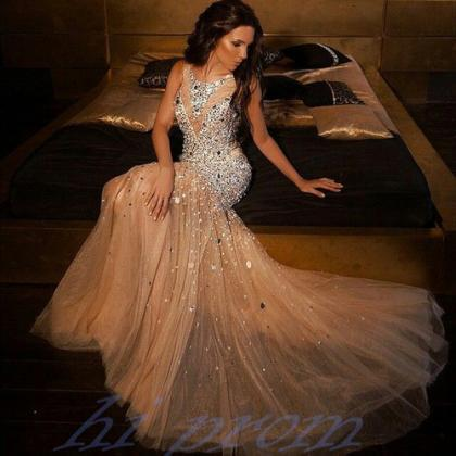 Mermaid Champagne Prom Dresses 2016