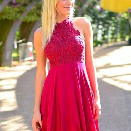 Hot Pink Floral Lace Halter Neck Sh..