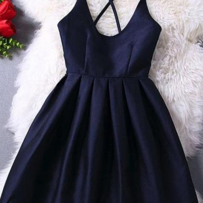 Elegant Navy Blue Homecoming Dress ..