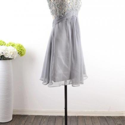 Grey Homecoming Dress,Modest Silver..