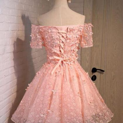 Blush Pink Homecoming Dress,Short T..