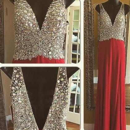Red Prom Dresses,Open Back Prom Gow..
