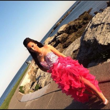 Pink Prom Dresses,High Low Evening ..