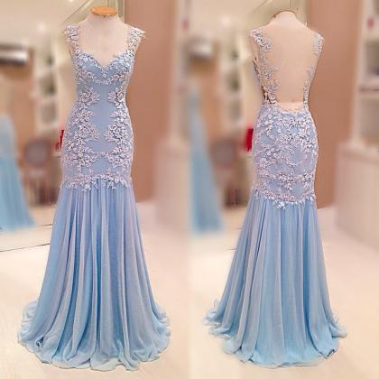 Sleeveless Lace Appliqués Mermaid ..