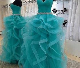 Beaded Prom Dresses,Corset Evening Gowns,Sexy Formal Dresses,Beading Prom Dresses,Fitted Evening Gown,Ruffled Evening Dress,Tulle Prom Dresses,Blue Evening Gown