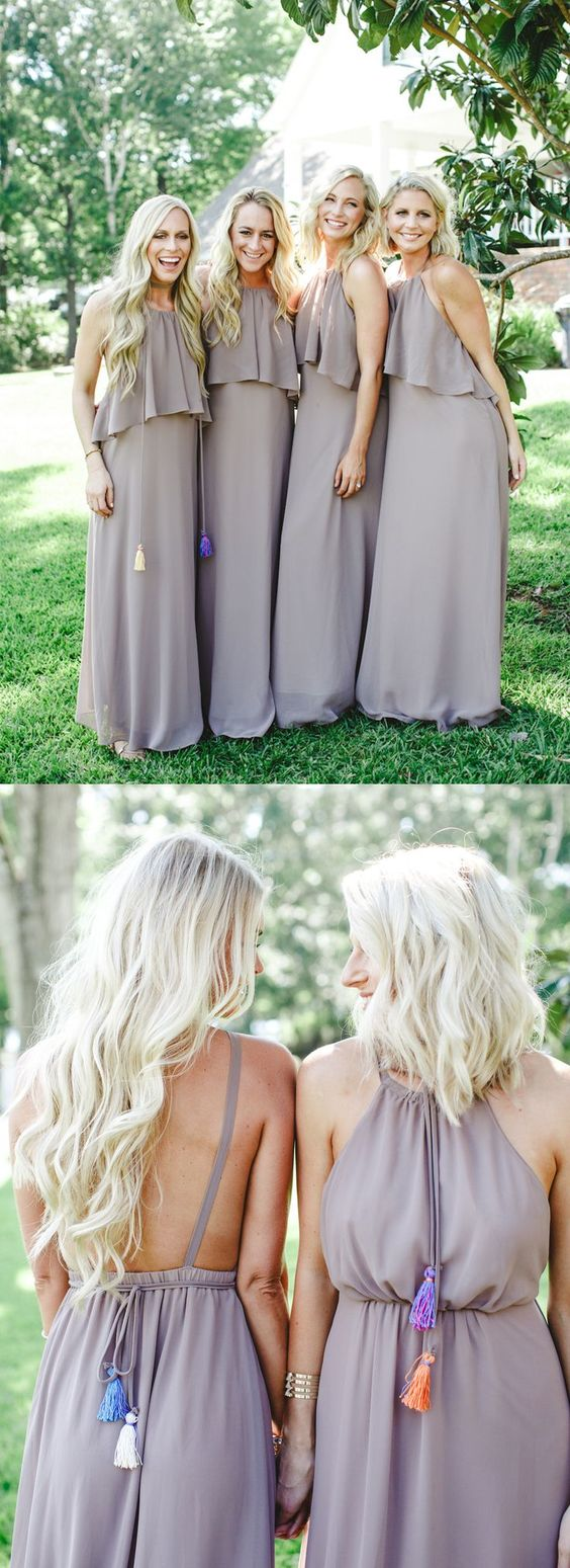 Boho fashion party dresses, chic backless fall bridesmaid dresses, simple fashion evening gowns