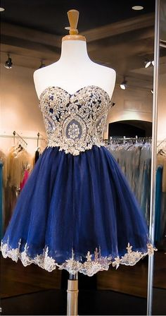 Dark Navy Homecoming Dresses,Crystals Homecoming Dress,Beaded Prom Dresses,Sweetheart Neck Cocktail Dresses,Sweet 16 Gowns