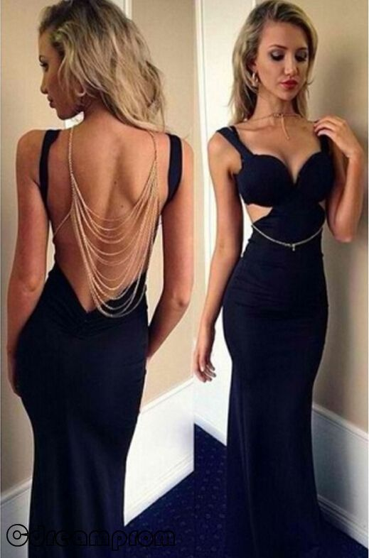 Black Prom DressesMermaid Prom DressSexy Prom GownLong Prom GownBackless Evening DressOpen