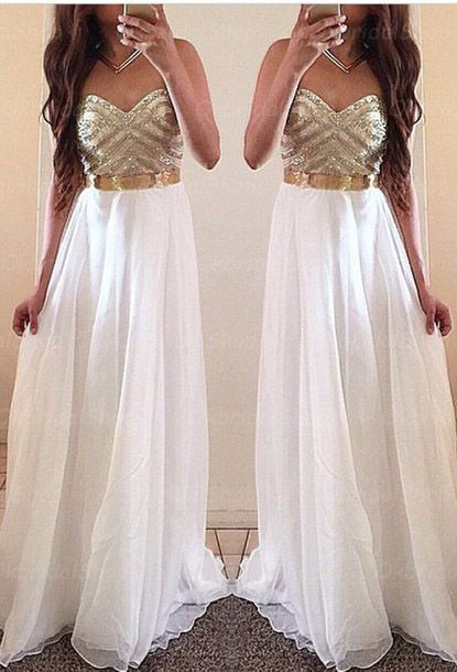 White Prom Dresses,Gold Evening Dress,Unique Prom Dresses, Sexy ...