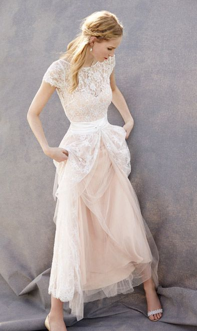 Lovely wedding dresses blush pink wedding gown tulle for Blushing pink wedding dress