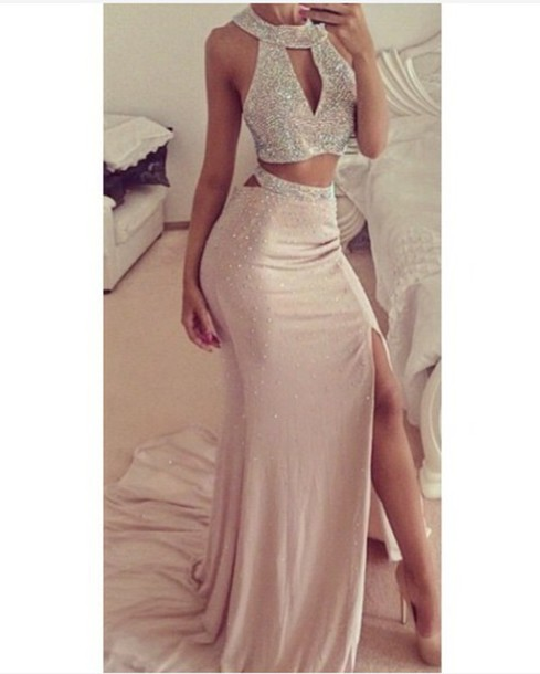 Beaded Prom Dresses,Beading Prom Dress,Sexy Prom Gown,2 Pieces ...