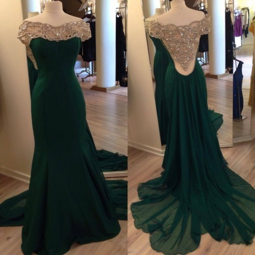 Hunter Green Prom Dresses,Backless Evening Gowns,Sexy Formal ...