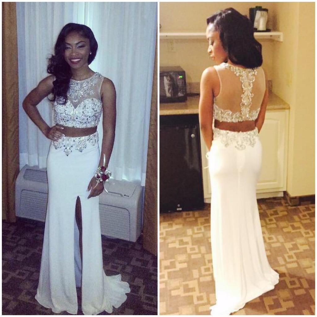 2 Piece Prom Gown Two Piece Prom Dresses White Evening