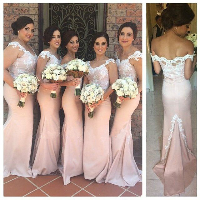 Lace Bridesmaid Dress,Long Bridesmaid Gown,Pink Bridesmaid Gowns ...
