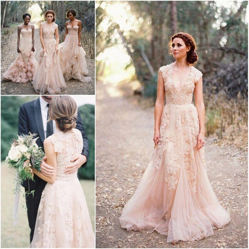2016 lovely wedding dresses long wedding gown tulle for Simple romantic wedding dresses