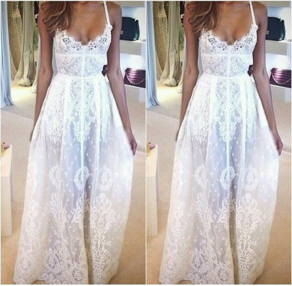 White Prom Dresses,Long Prom Gown,Lace Prom Gowns,Simple Bridal ...