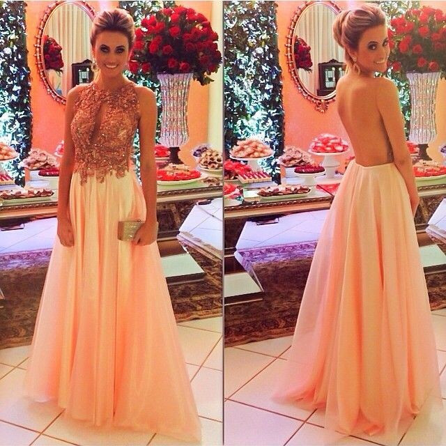 Backless Prom Dresses,Peach Prom Dress,Backless Prom Gown,Open ...