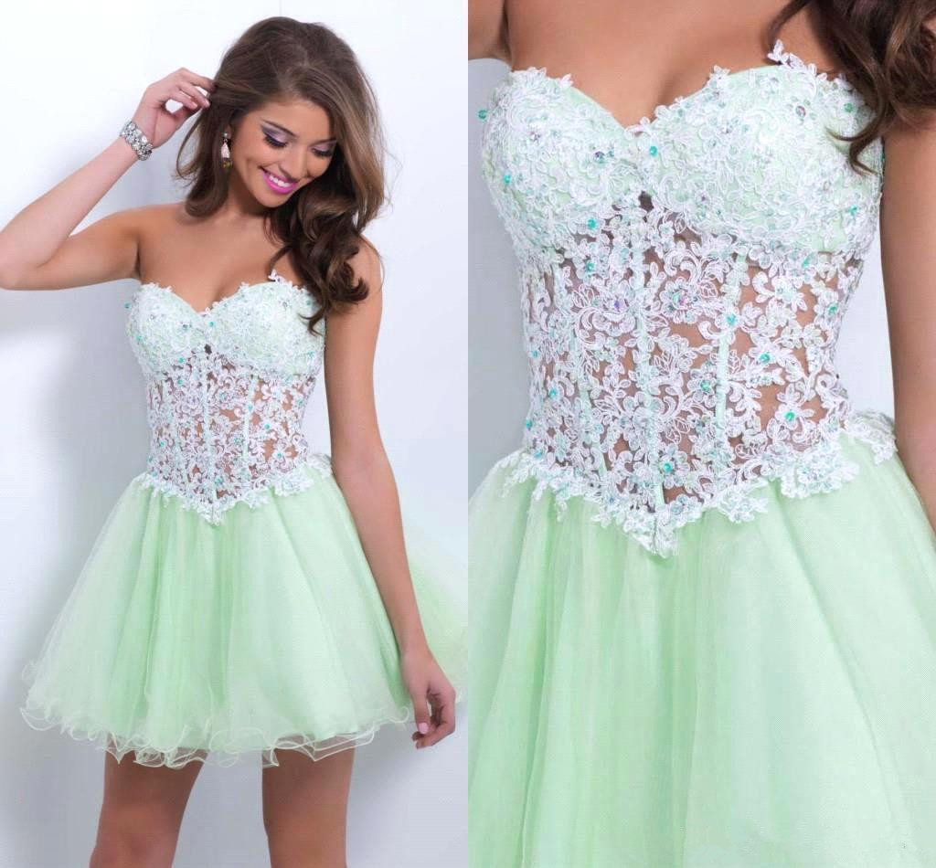 Tulle Homecoming Dress,Lace Homecoming Dress,Mint Green Homecoming ...