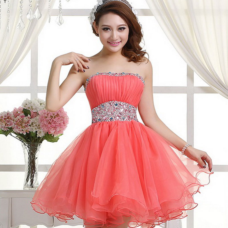 Coral Homecoming Dress,Sexy Homecoming Dresses,Tulle Homecoming ...