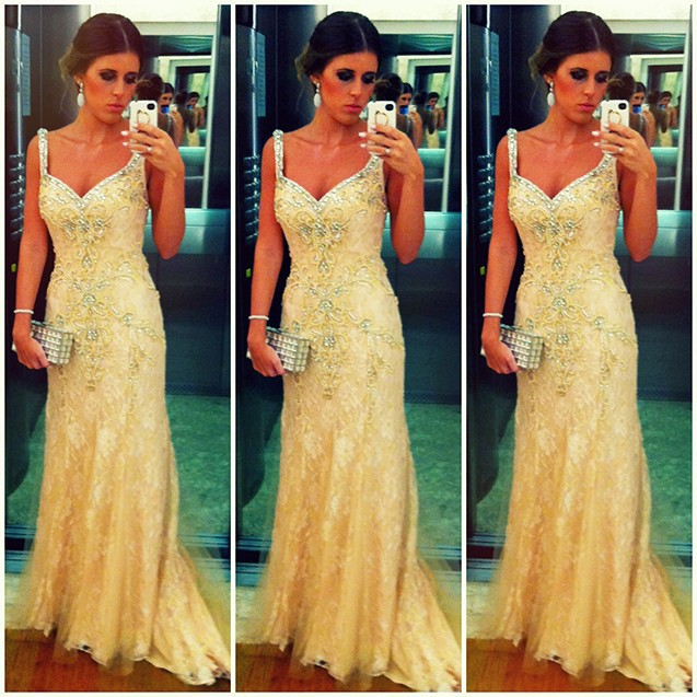 Yellow Prom Dresses,Charming Evening Dress,Yellow Prom Gowns,Lace ...