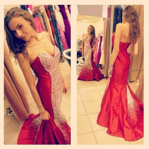 Red Prom Dresses,Mermaid Prom Dress,Satin Prom Dress,Strapless Prom Dresses,2016 Formal Gown,Evening Gowns,Red Party Dress,Mermaid Prom Gown For Teens