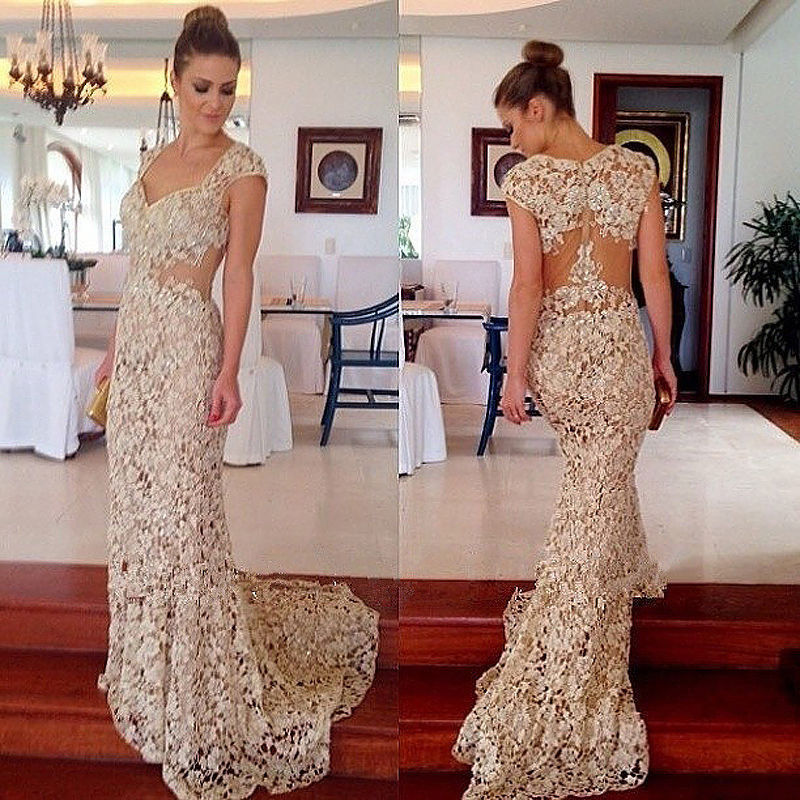 Prom Dresses,Lace Prom Dress,Champagne Prom Gown,Prom Gowns,Elegant Evening Dress,Modest Evening Gowns,Sexy Party Gowns,2016 Prom Dress