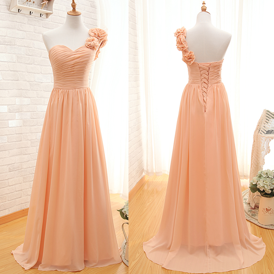 One shoulder bridesmaid gown pretty prom dresses chiffon for Cheap and beautiful wedding dresses