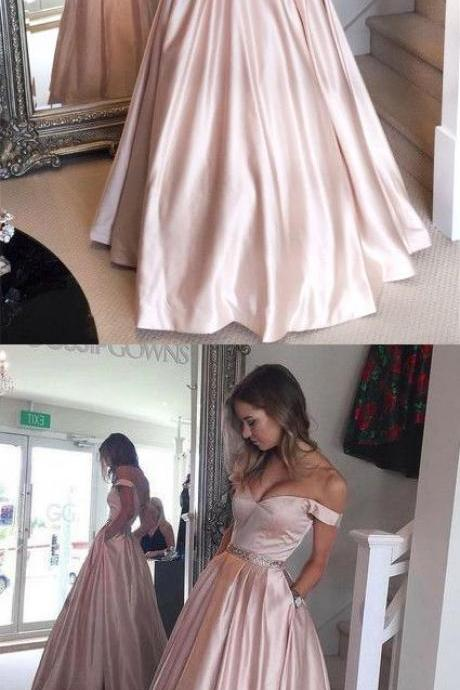 Off Shoulder Ball Gown Pearl Pink Long Prom/Evening Dress prom,prom dress,prom dresses,prom gown,prom gowns,long prom dress