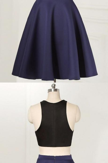 sexy homecoming dresses,navy blue dresses,2 pieces homecoming dresses