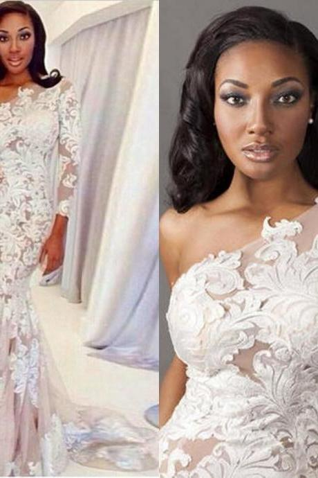 One Shoulder Long Sleeve White Lace Evening Dress Sexy Mermaid Sweep Train Prom Gowns