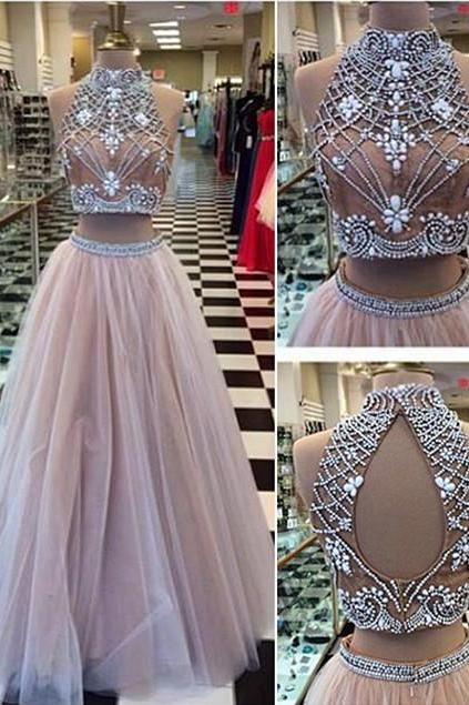 High Collar Two Piece Tulle Evening Dress with Beading A-Line Halter Long Prom Dress