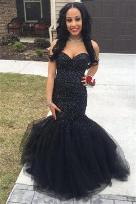 Sweetheart Mermaid Black Tulle Prom Dress Sleeveless Sexy Evening Gown