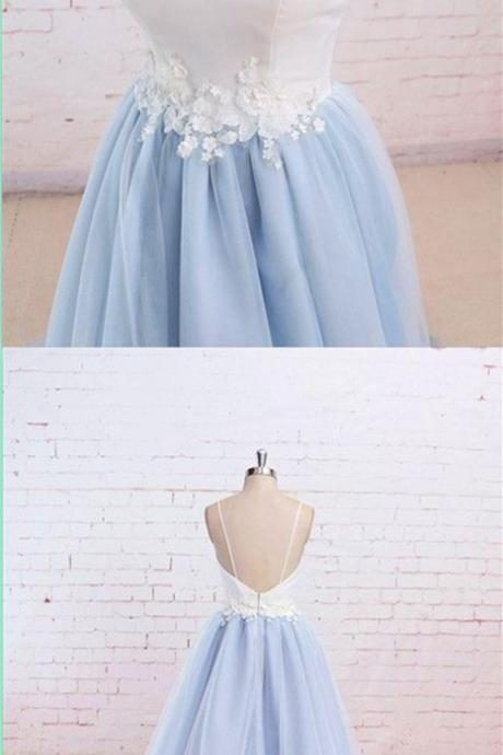 prom dresses,Tulle A-line Evening Dresses light sky blue prom gowns