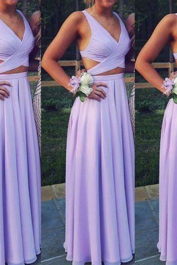prom dresses,Beautiful Lavender Two Piece Chiffon Prom Dresses, Long Two Piece Party Dresses, Evening Dresses