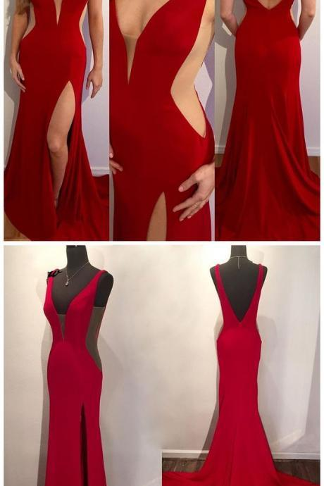 Sexy Prom Dresses, Red Prom Dresses, Long Mermaid Prom Dress