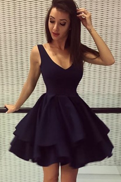 V-neck Homecoming Dress,Satin Homecoming Dresses,Layers Homecoming Dress,Short Party Dresses,Navy Homecoming Dresses