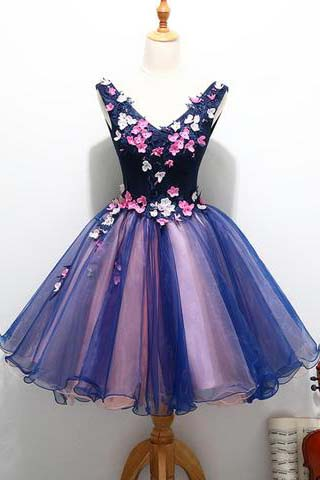 Cute Homecoming Dresses,V Neck Homecoming Dress,Unique Prom Dresses,Handmade Prom Dress,Flowers Prom Dresses,Cheap Homecoming Dresses