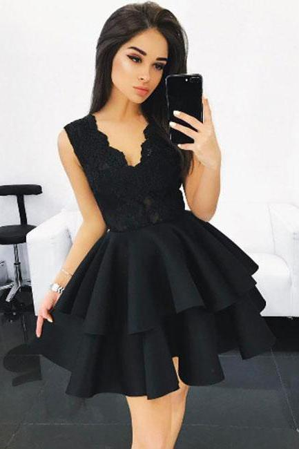Black Homecoming Dresses,V Neck Homecoming Dress,Lace Homecoming Dress,Ruffles Prom Gown,Short Prom Dress
