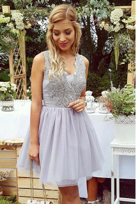 A-Line Homecoming Dresses,V-Neck Homecoming Dresses,Short Prom Dresses,Lilac Homecoming Dresses,Lace Homecoming Dress