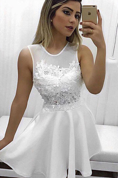Elegant Homecoming Dresses,A-Line Homecoming Dress,Jewel Prom Dresses,Sleeveless Prom Gown,White Homecoming Dresses,Short Homecoming Dress With Lace