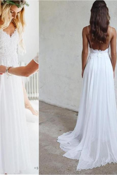 Spaghetti Strap Wedding Dresses,White Wedding Dresses,Chiffon Wedding Dress,Lace Bridal Dress,Appliqued Wedding Gown,V-neck Wedding Dress,Summer Wedding Dresses,Beach Wedding Dress