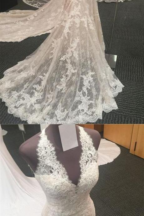 Halter Neck Open Back Lace Mermaid Court Train Wedding Dresses 2018 Vintage Style