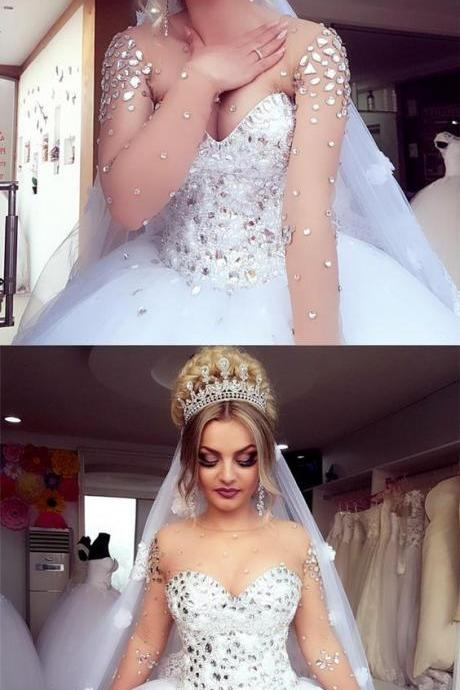 gorgeous crystal beaded wedding dress ball gowns with illusion long sleeves
