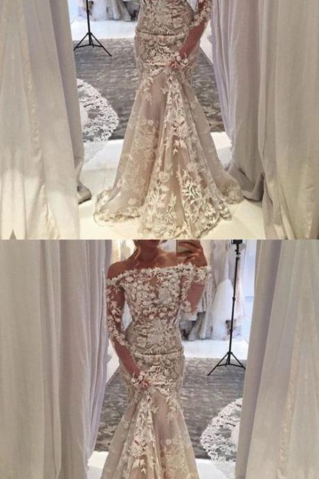 long sleeves wedding dress,mermaid wedding gowns,mermaid evening dress,mermaid prom dress,lace wedding dresses ,off shoulder prom dress,lace prom dress
