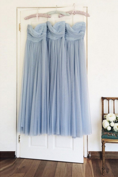 Simple sweetheart neck blue chiffon long prom dress, long bridesmaid dress