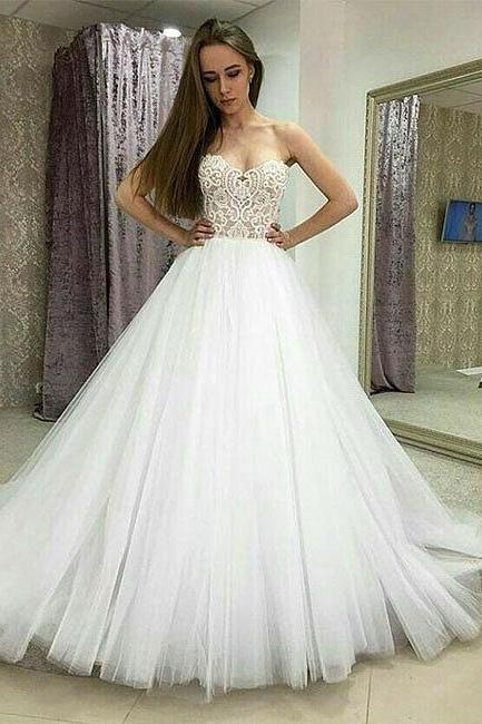 Charming Tulle Wedding Dress, Sexy Ball Gown Wedding Dresses, Sleeveless Bridal Dresses P0051