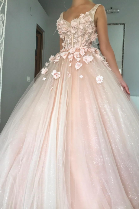 Charming Ball Gown Wedding Dress, Appliques Pink Tulle Bridal Dresses P0225