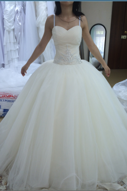 White Ball Gown Wedding Dress, Sexy Spaghetti Straps Lace up Wedding Gown, Bridal Dress P0233