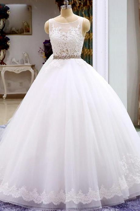 Sleeveless Tulle Ball Gown Wedding Dress, Appliques Blue Formal Wedding Gown Bridal Dresses P0241