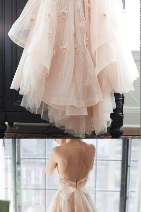 Charming Wedding Dress, Backless Tulle Wedding Gown, Sexy Bridal Dresses P0295